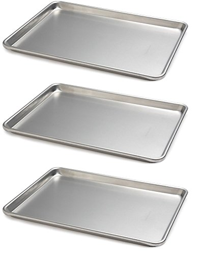 Focus Foodservice (900850) Commercial Half Size Sheet Pans, Set of 3 (13-Inch x 18-Inch, Aluminum)