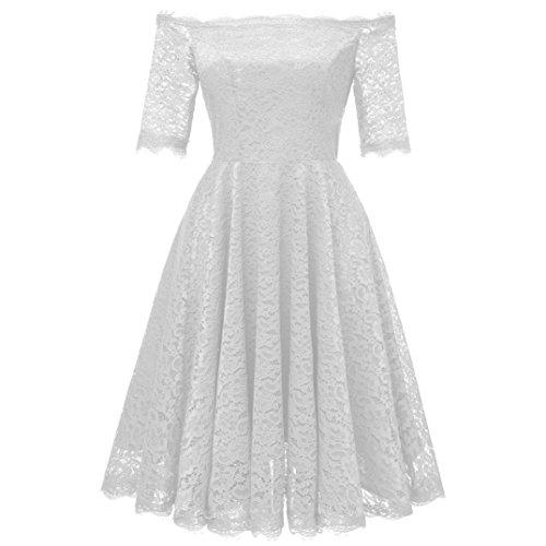 Vintage Princess Dress for Women Swing Dress Floral Lace Cocktail V-Neck Party Aline ()