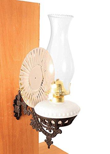 Victorian Oil Lamp Opal W Reflector Wall Mount Hurricane