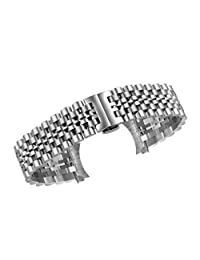 18mm Deluxe Jubilee Style Watch Strap Bracelets in Silver Solid Stainless Steel Links Deployment Clasp