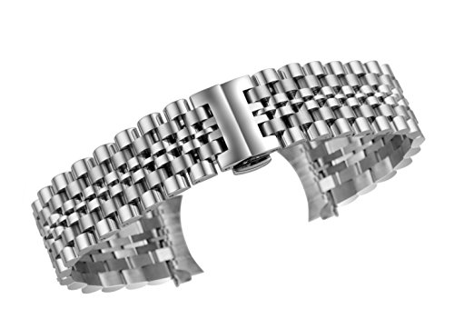 22mm Stylish Silver Bracelet Replacement Watch Bands Jubilee Style Solid Stainless Steel Deployant Buckle