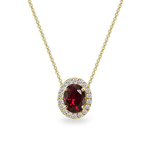 (Yellow Gold Flashed Sterling Silver Created Ruby Oval Halo Slide Pendant Necklace with CZ Accents)