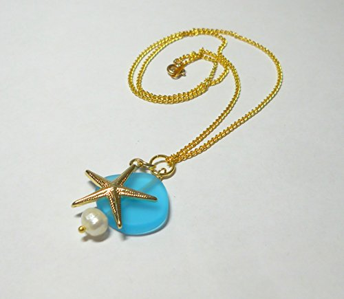 Aqua sea glass pendant necklace with gold starfish and white pearl on gold-plated chain by (White Gold Starfish Necklace)
