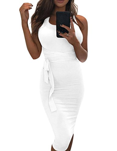 MIZOCI Womens Sexy Sleeveless Bodycon Tank Dress Backless Basic Midi Club Dresses,Small,White