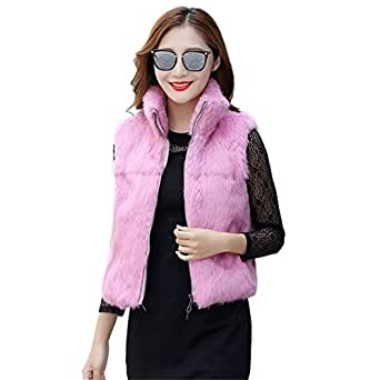 MINGCHUAN Rabbit Fur Vest Women's Whole Rabbit Fur Slim Gilets Short Waistcoat With Stand Collar and Zipper
