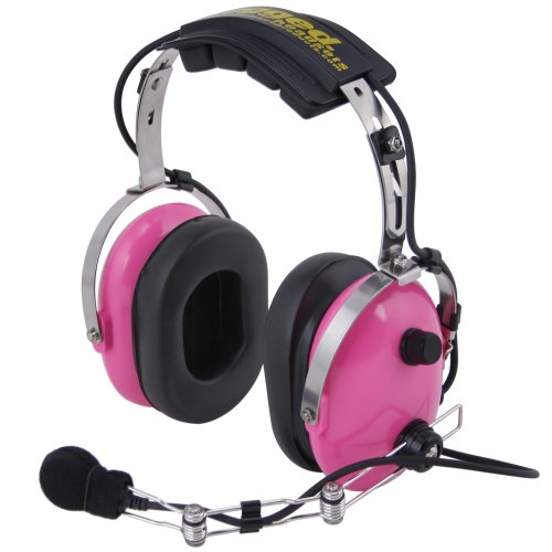 Noise Radio Aircraft (Rugged Radios H22-PINK Pink Carbon Fiber Over the Head Two-Way Radio Headset with Dynamic Noise Cancelling Microphone, Push to Talk, and 3.5mm Input Jack for Music & MP3 Players)