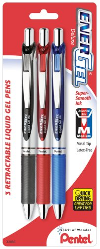 Pentel EnerGel Deluxe RTX Gel Ink Pens, 0.7 Millimeter Metal Tip, Black/Red/Blue Ink, 3-Pack (BL77BP3M) (Energel Pentel Metal Tip)