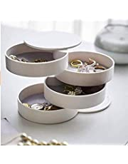 All for Love - White Jewelry Box, 360 Degree Rotating Jewelry Storage Box 4 Layers Jewelry Organizer Holder for Necklace Bracelet Ring Earring Small Items Container Case