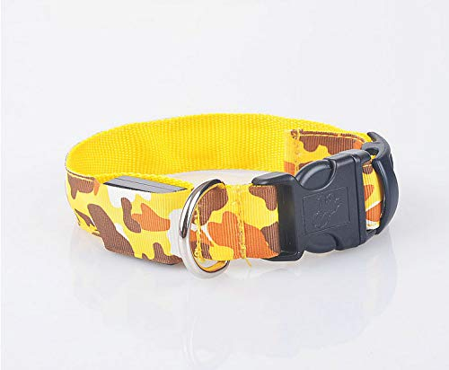 leash,dog leash,cat leash,leash for small dogs,dog leash retractable.Glowing dog collar _ camouflage pet light dog collar leopard army green dog band dog with information collar, yellow, M-charged