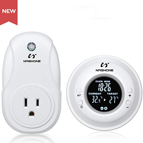 Nashone Digital Wireless Temperature Controller, Built in Temp Sensor Electric Thermostat Socket 3 Prong Plug LCD Display Heating Cooling Mode