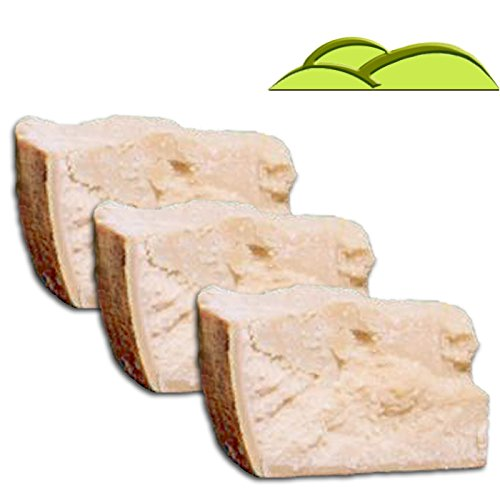 3 Pieces PARMIGIANO REGGIANO PDO from hill, each 3 lbs, qual.''Extra'' vacuum packed, (total = 9 lbs) seasoned 24 months by Parmigiano Reggiano PDO