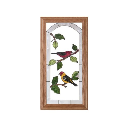 Bird, Scarlet Tanager & Baltimore Oriole Painted Glass Panel C-044 (Orioles Bird Baltimore Silver)