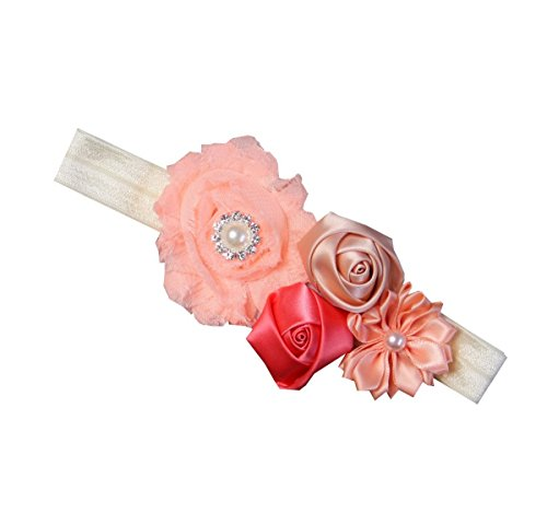 Kirei Sui Baby Girls Crystal Pearl Rosettes Headband (Peach Strawberry (Rosette Head)