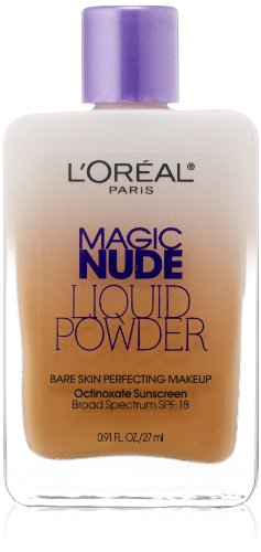 L'Oreal Paris Magic Nude Liquid Powder Bare Skin Perfecting Makeup SPF 18, Sun Beige, 0.91 Ounces