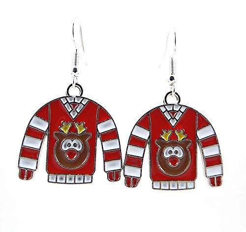 Tacky Reindeer Ugly Christmas Sweater Metal Earrings with Silver Toned Ear Wires