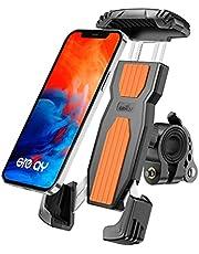 Grefay Fiets Telefoonhouder, Anti-Shake Snelspanner, Roestvrij Staal, 360 Graden Draaibaar, voor Smartphones van 4,7-6,9 Inch (Oranje)
