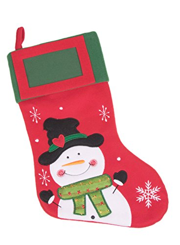 Snowman with Scarf and Top Hat Red and Green Felt Christmas Stocking - 16