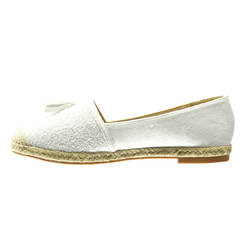 Angkorly - Chaussure Mode Espadrille Mocassin slip-on femme frange pom-pom pailettes Talon bloc 2 CM - Blanc