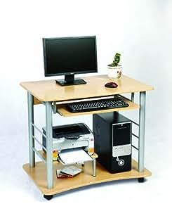 Mesa para ordenador con balda para el teclado de Zyon. Tablero con efecto de pino y ruedas (ordenador no incluido)