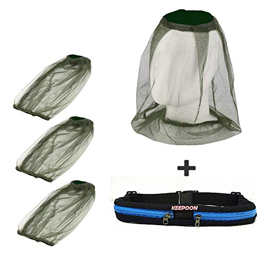 3Pack Mosquito Head Net Face Netting for Bugs Mosquito Repellent Clothing Mosquito Net for Hat with Handfree Waist bag for Outdoor Camping,Hiking,Traveling,Fishing Beekeeping and Gardening