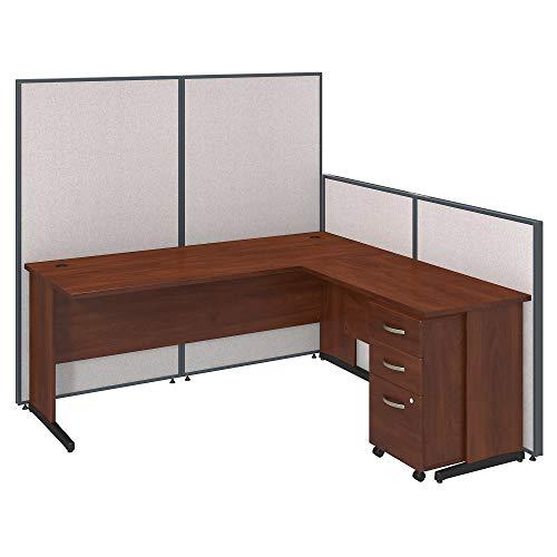 Bush Business Furniture 72W C Leg L Shaped Desk and 3 Drawer Mobile Pedestal with Propanels - Light Gray 74W X 74D X 67H Ergonomichome Bush Business Furniture Scroll Down for Product Description