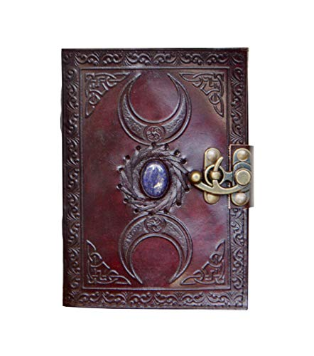 Leather Journal Handmade Third Eye Stone Celtic Triple Moon New Embossed Vintage Daily Notepad Unlined Paper 7 x 5 Inches, Sketchbook & Writing ()