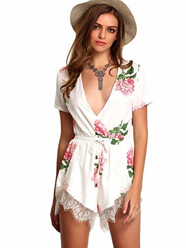 Floerns Women's V Neck Floral Print Short Romper Jumpsuit White XXL