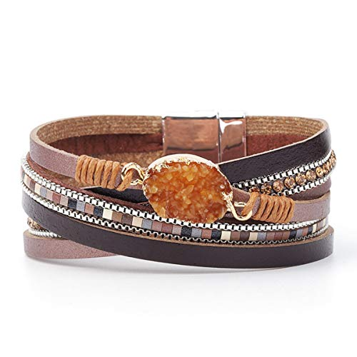 - Womens Leather Cuff Bracelet - Braided Wrap Bangle Handmade Multi Layer Jewelry - with Alloy Magnetic Clasp - Bohemian Gift for Women, Mother,Girls ((Natural Stone)-Orange)