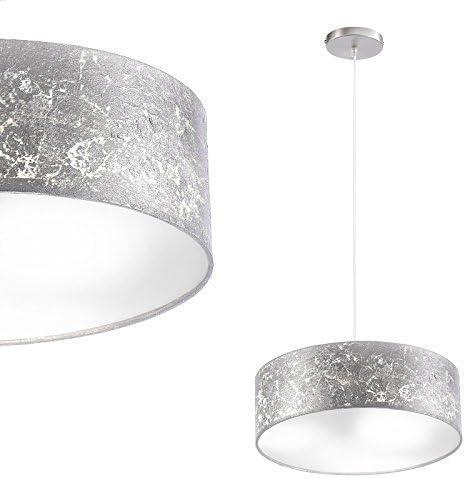 Como Techo o Lámpara Colgante Utilizable Mampara - Ø 40cm Pantalla de Tela - en Hoja Plateada Incluido Linterna LED: Amazon.es: Iluminación