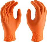 West Chester 2940 Industrial Grade Textured Disposable Nitrile Gloves, 7 mil, Powder Free: Orange, Large, Box of 100