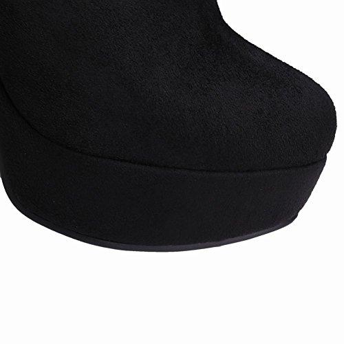 Mee Shoes Damen langschaft high heels Plateau Stiefel Schwarz