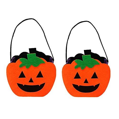Fully 2stk. Halloween Mini Tragtasche Tasche Kinder Handtasche Süßigkeiten Tote Beutel für Geschenk Kostume Party (Pumpkin, -