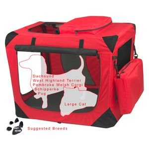 Pet Gear Generation II Soft Crate Pad/Treat Bag Capacity 30 lbs. Red