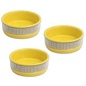 "3-pack 4.5"" Ceramic Stoneware BLING Yellow Pet Bowls for Cats - Great Cat Dish Set or Small Dog Dish Set"