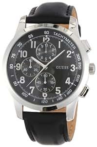 Guess Coastal W13530G1 - Reloj de caballero de cuarzo, correa de piel color negro