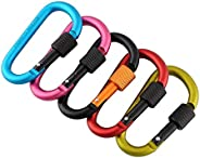 5 Pack D-Ring Carabiner, Aluminum Screw Locking Carabiner Keychain, D Shape Buckle, Keychain Clip, Spring Snap