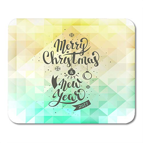 Semtomn Mouse Pad Yellow Merry Christmas and Happy New Year Lettering Abstract Mousepad 9.8