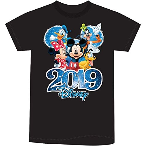 Disney Youth Unisex 2019 Dated Fabulous Group Mickey Minnie Donald Goofy Pluto Medium Black Tee