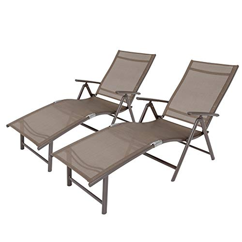 Crestlive Products Aluminum Beach Yard Pool Folding Recliner Adjustable Chaise Lounge Chair All Weather for Outdoor Indoor, Brown Frame (2 PCS Brown & Black) (Lounge Outside)