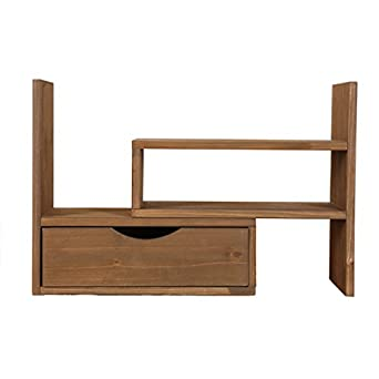 hlyrus japanese style creative adjustable woody desktop small bookshelves with drawer filing rack book shelf - Real Wood Bookshelves