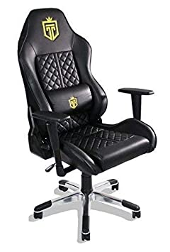 GT Throne, Immersive Gaming Chair, Vibrating Computer and Console Chair, Racing Style High-Back with Lumber Support and Headrest Bold Gold