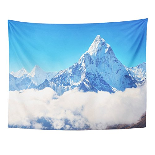 Breezat Tapestry Blue Himalaya Mountain Peak Everest Highest in the World National Park Nepal Snow Home Decor Wall Hanging for Living Room Bedroom Dorm 60x80 Inches