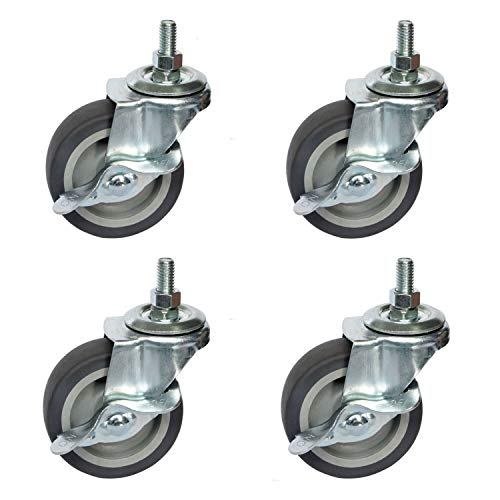 """OuYi Brake Stem Casters Wheel 3/8""""-16 x 1"""", 3 inch Locking Threaded Stem Swivel Rubber Caster Brake and Non-Marking Polyurethane Wheels for Carts Furniture Dolly Workbench Trolley 4 Pack"""