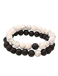 KSQS Yin Yang Balance Black White Stone His and Hers Couple Distance Bracelet 2pcs