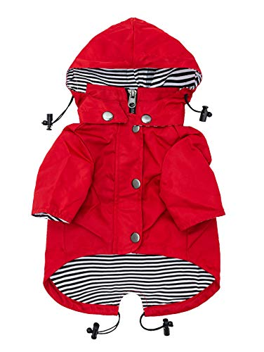 (Ellie Dog Wear Red Zip Up Dog Raincoat with Reflective Buttons, Pockets, Water Resistant, Adjustable Drawstring, Removable Hoodie - Size XS to XXL Available - Stylish Premium Dog Raincoats (XL))