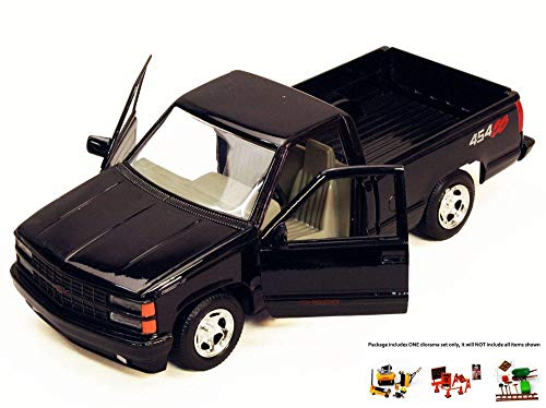 Pickup 454ss (Diecast Car & Free Diorama Set - 1992 Chevy 454SS Pick Up Truck, Black - Motormax 73203 - 1/24 Scale Diecast Model Car w/Free Diorama Set)