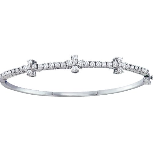 1/4 Total Carat Weight ROUND DIAMOND 3FLOWER LADIES BANGLE by Jawa Fashion