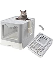 Enclosed Cat Litter Box with Lid, Top Entry Kitty Litter Box, Super Easy to Clean Foldable Cat Litter Toilet, Large Pan with Pet Plastic Scoop