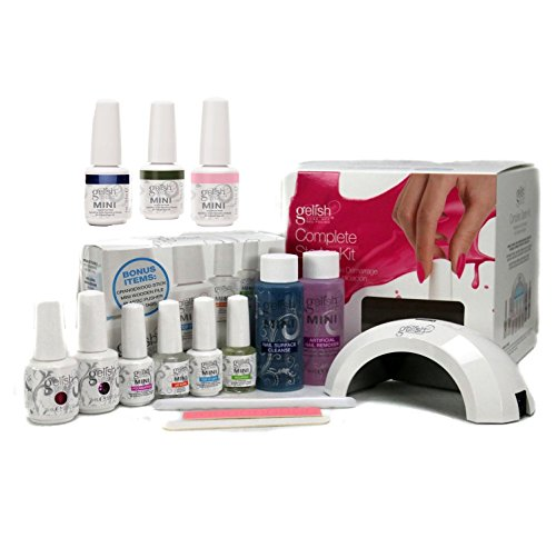 Gelish Harmony Complete Starter Led Gel Nail Polish Kit with 5 Additional Colors Complete Nail Care Kit