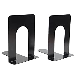 2x Universal L-Shaped Anti-skid Bookends Shelf Book Case End Holder Home Office Supplies (Black)